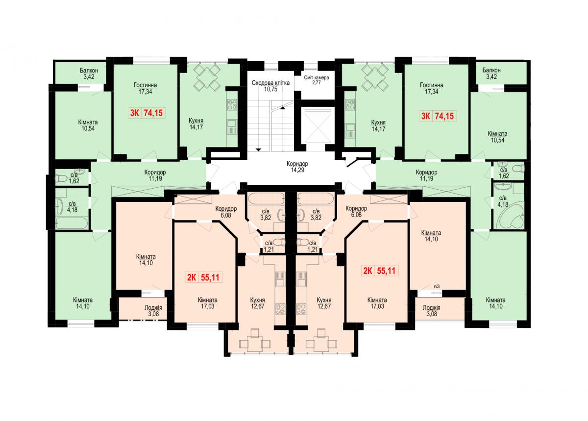 2 під'їзд: Планування квартир