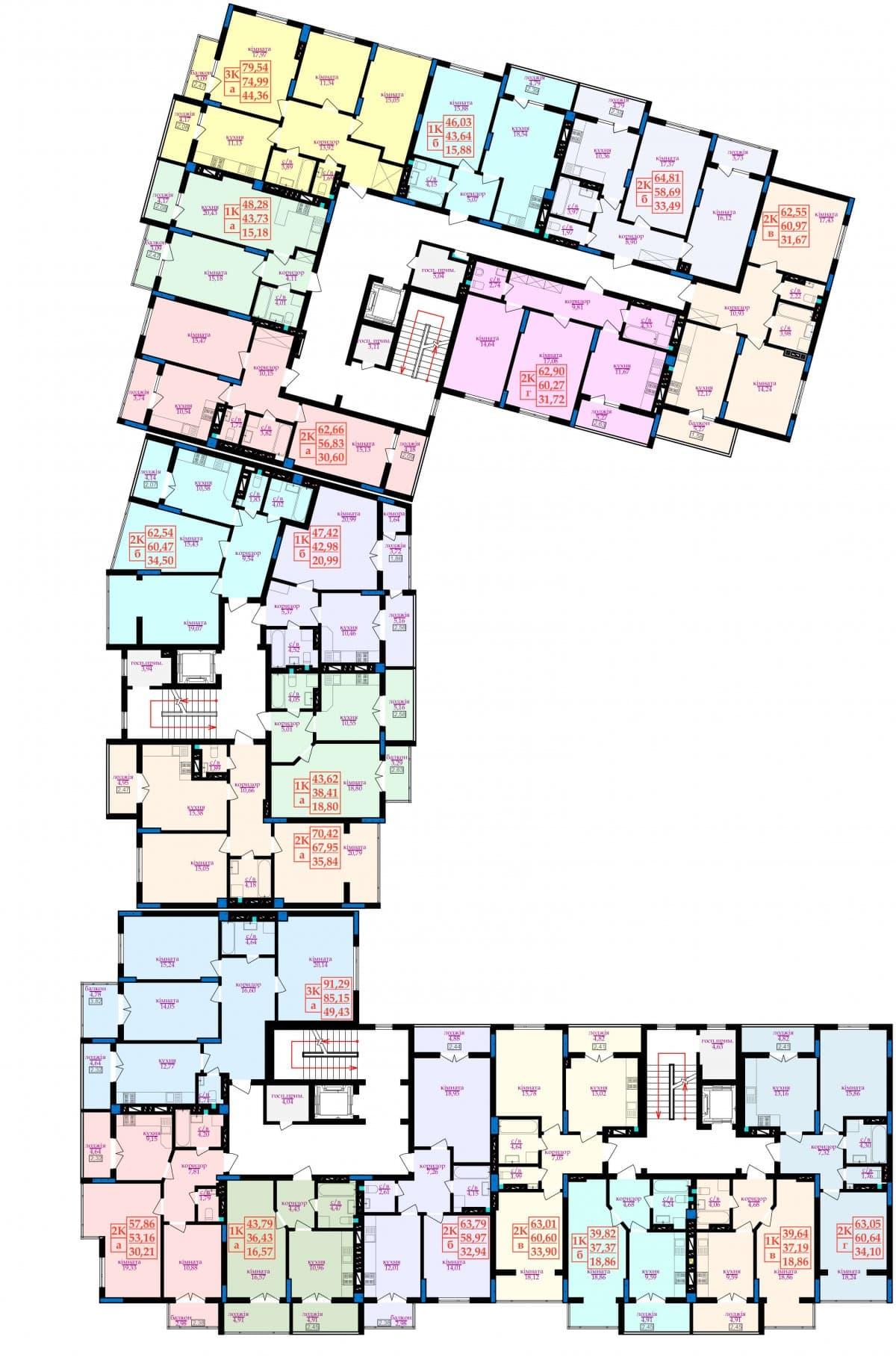 Генплан - Схема: Планування квартир
