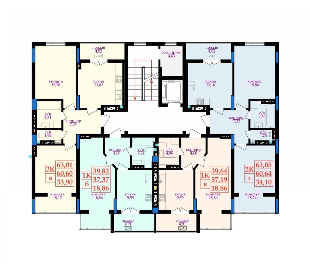 1 під'їзд: Планування квартир